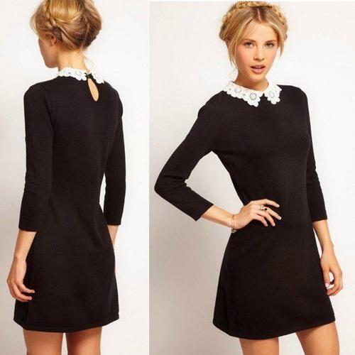 черна рокля с дантела яка