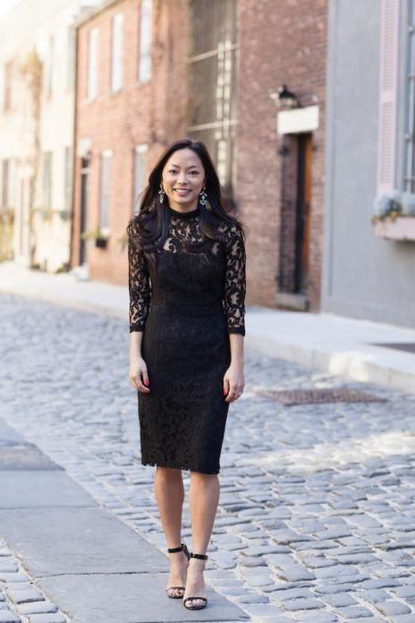 черна рокля с дантела отдолу