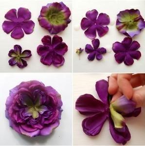 Направете цвете от тъканта със собствените си ръце, не толкова трудно, колкото изглежда